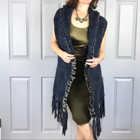 b3cc96eeef58e1 escio Sweaters - BLUE knit SWEATER vest fringe BOHO LONG FUR black